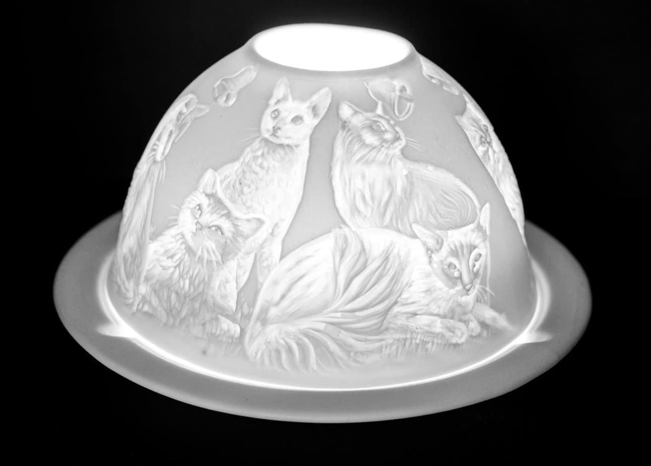 Cats Porcelain Dome Tealight Holder