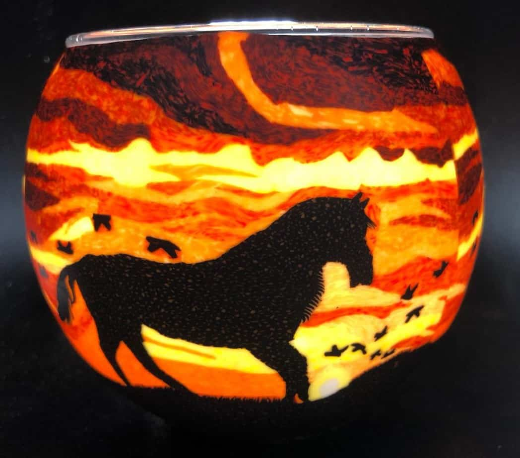 Horse Silhouette Light Glass (205220)