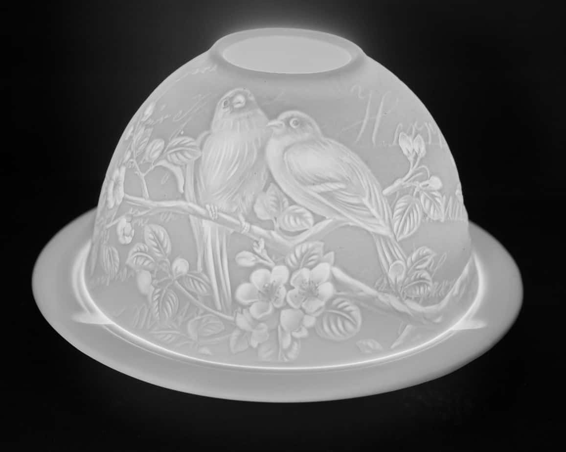 Love Birds Porcelain Dome Tealight Holder