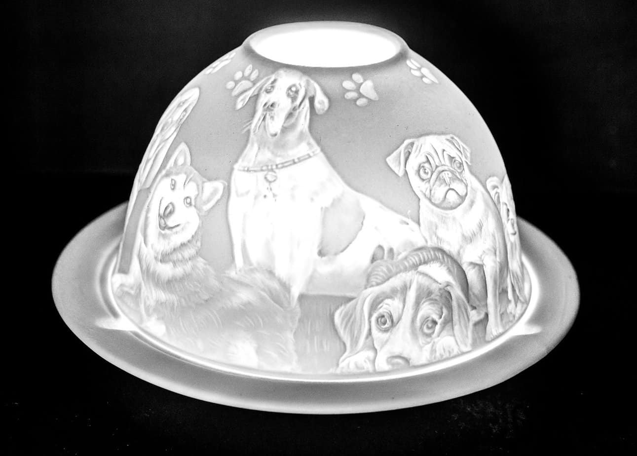 Mans Best Friend Porcelain Dome Tealight Holder