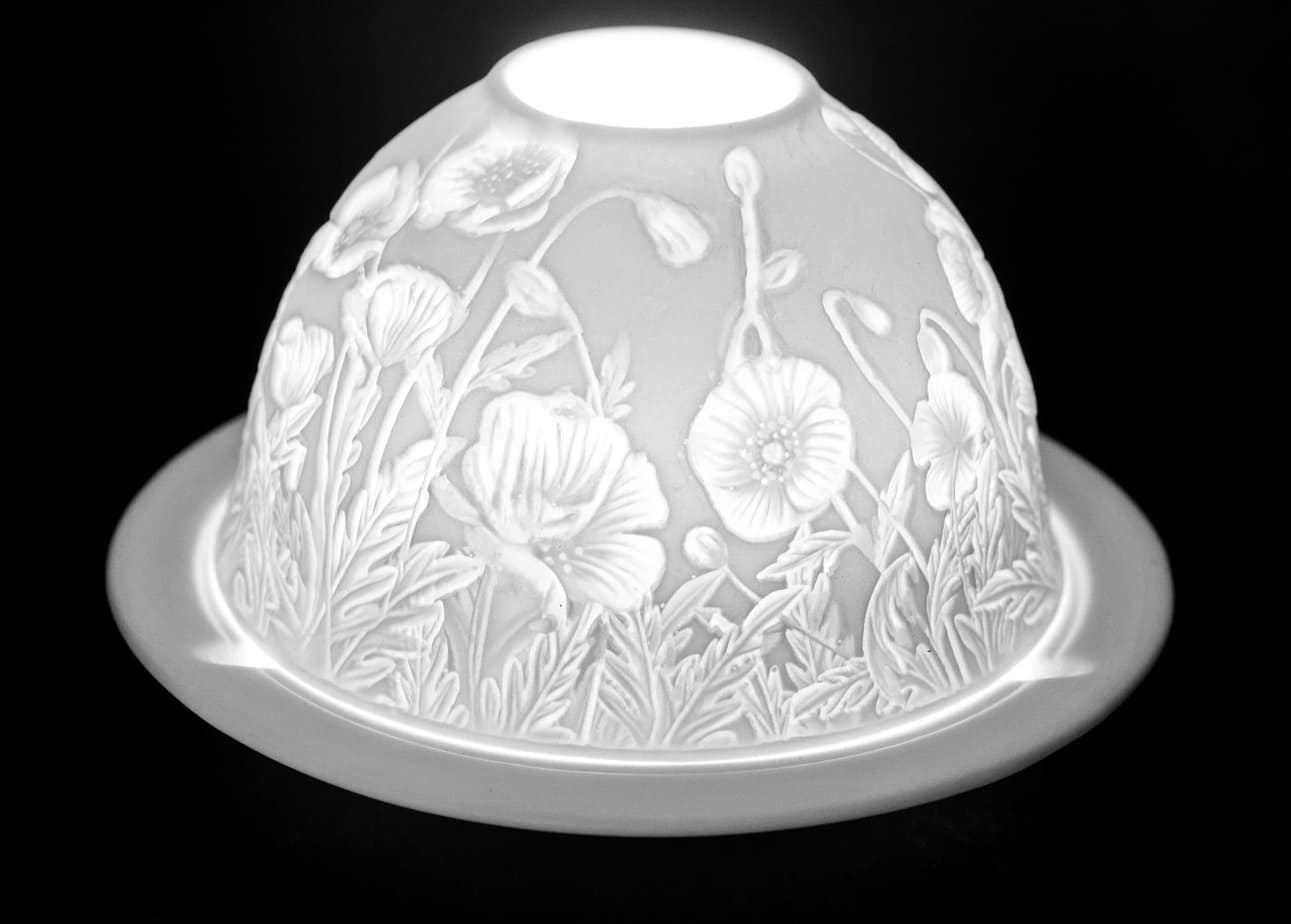 Poppy Flowers Porcelain Dome Tealight Holder
